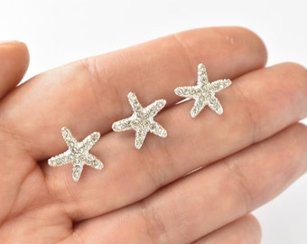 Crystal Silver Starfish Hair Pins Set of 3 Beach Wedding Hair Accessories