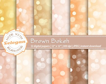 Brown Bokeh, Digital Paper, Scrapbooking, Paper, 12x12, Printable, Glitter, Pattern, Lighting, Texture, Champagne, Background, Download