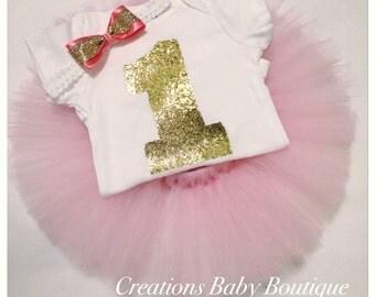 Baby Girl birthday outfit , birthday tutu set , headband , onesies and tutu