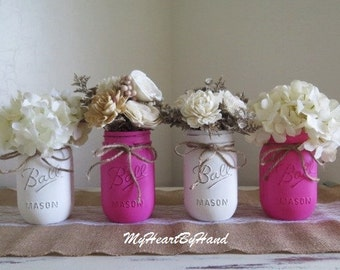 Mason Jar Table Centerpiece, Rustic Table Decor, Mantle Decor, Valentines Mason Jar Centerpiece, Country Decor, Pink Valentine Baby Shower