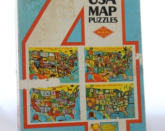 Set of Four Warren Built-Rite USA Map Puzzles -- Animals, Birds, Flowers, Capitals/Products  -- States, Nicknames --1960/70's