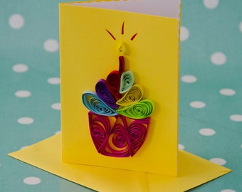 Bright Quilled Cupcake Greeting Card