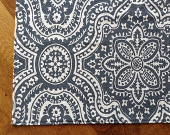 Medallion Cloth Placemats, French Country Decor, Grey Cloth Placemats