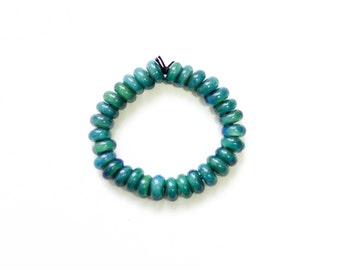 Handmade Turquoise + IO Star Borosilicate Bead Bracelet