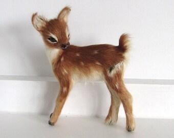 Vintage Kitsch Fur Fawn Deer Bambi Ornament 1960's Retro