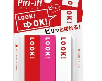 """Sun-Star Stationery Piri-it ! Sticky Notes """" LOOK! → OK! """" / 25 Sheets x 3 Color -"""