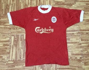Vintage 90s REEBOK LIVERPOOL Football Club Carlsberg Jersey Official Merchandise Made In U.K