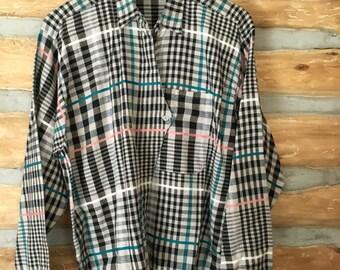 1980s Plaid Button Up