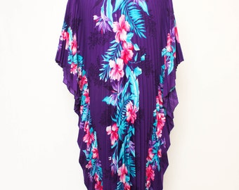 Vtg 80s Pleated Purple Floral Caften O/S