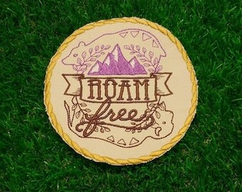 Roam Free! Adventure Patch Embroidered Travelling Badge Gap Year Summer Holiday Hiking