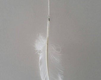 Feather necklace white silver dipped silver
