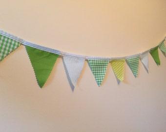 Mini Green Bunting 10 Flags Single Sided