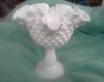 Signed Fenton Hobnail Pedestal Ruffled Milk Glass Bowl