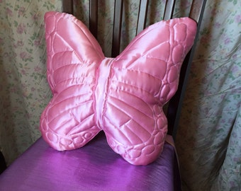 Vintage 1970s Bohemian Butterfly Pillow! Handmade quilted Butterfly Pillow