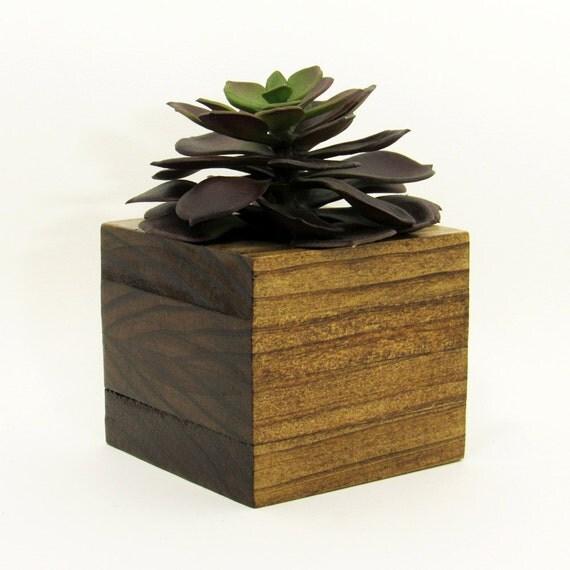 Succulent planter wood planter succulent pot by for Wooden cactus planter
