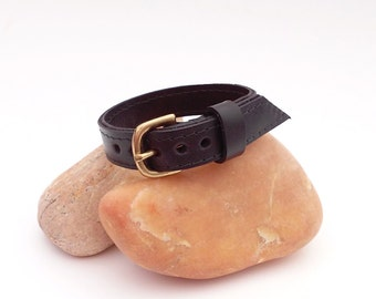 Black leather bracelet,  Upcycled black leather cuff