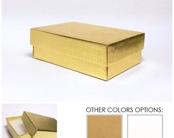 """100pk Kraft Jewelry Boxes 2.25""""W x 3.25""""L x 1""""H (3 Style: Linen Gold / Light Kraft Brown / Gloss White)"""
