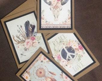 Handmade Kraft Cards set of 4
