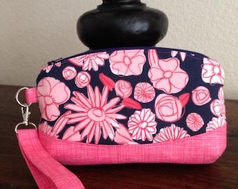 Zippered wristlet, zippered clutch purse, Clematis wristlet, clutch