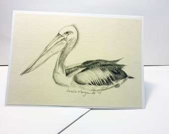 Greeting Card, Pelican Drawing, Birthday, Get Well, Original