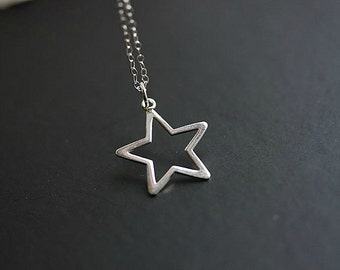 Silver Star Necklace - Open Star necklace in Sterling silver  - Delicate necklace - Minimalist necklace