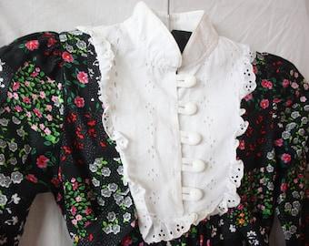 Vtg 70's Patch Work Floral Dress