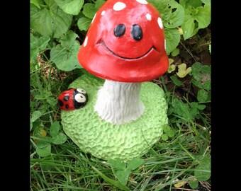 Toadstool Garden Statue