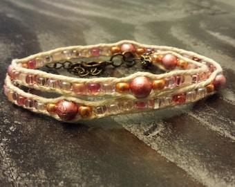 Double wrap pink hemp bracelet