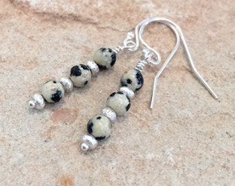 Black and tan drop earrings, dalmatian jasper earrings, Hill Tribe silver drop earrings, silver dangle earrings, sundance style earrings