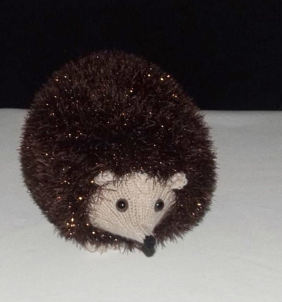 Sparkly Hedgehog Knitting Pattern : Brown Sparkly Hedgehog Hand knitted brown stuffed by ...