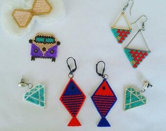Handmade jewelry miyuki delica brooch earring necklace bracelet