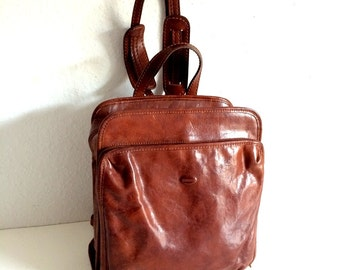 Tornabuoni Brown Leather Backpack