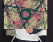 Fractal Signed Art Print , Abstract, Eclectic Decor | Medallion Nebula Wall Art - Green and Pink Geometric Pattern Poster, Digital Download