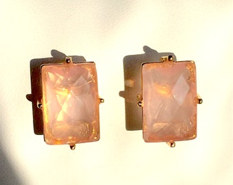 Rose Quartz and Gold Earring