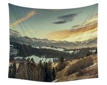 Mountain Tapestry, Landscape Print, Wall Tapestries, Decor, Winter, Nature, Snow, Christmas, Photo, Photography, Art, Forest, Trees, Sunset
