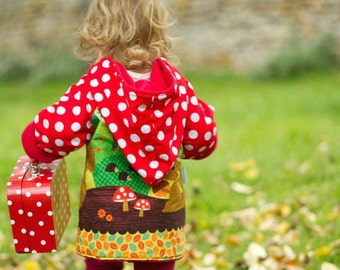 Girls Autumn Coat - Girls back to school Coat -Woodland Animal Print -Girls Kindergarten Coat - Girls School Coat - Squirrels - Girls Jacket