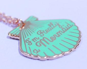 Mermaid, Mermaid gifts, Turquoise necklace, Mermaid jewelry, gifts for her, turquoise jewelry, enamel jewelry, beach jewelry
