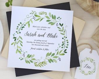 Printable Save The Date,  DIY Printable, Watercolour Spring Green Wreath