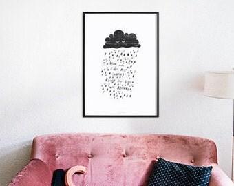 Applaus / Spruch, Regen, Wolke, Typography Art, Kunstdruck Poster, Wall-Art
