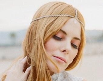 Diamond Like Crystals Bridal hair chain Headpiece Crown Headdress faux Diamonds Chain Alternative Art Nouveau