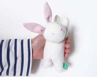 Bunny rabbit soft toy pastel Pink cotton fabric cuddly toy handmade stuffed kawaii woodland plush cotton fabric toy for babies and children
