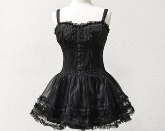 Steampunk dress, black corset dress, Size L