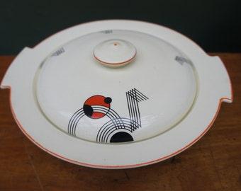 Midwinter Pottery 1930s Art Deco Lidded Tureen Geometric Jazz Design Orange Colourway Made in England