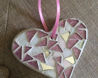 Stained Glass Mosaic Heart Ornament, Pink Glitter and Iridescent White, Stained Glass Accent