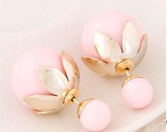 30% OFF SPECIALHOLIDAY Double Pearl Earrings, Double Ball Earrings, Double Sided Earrings, Double Stud Earrings