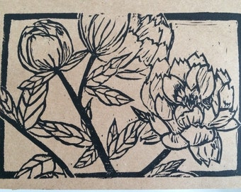 Peonies - Handmade Block Print Greeting Card