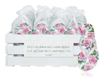 Personalised crate containing 20 pairs of Rose graphic flip flops.