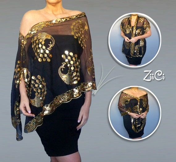 Fancy Black Shawl Gold Sequin Wrap Womens Formal Dress By
