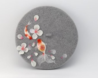 handmade felted beret with cherry blossom and goldfish ,Needle Felted hat pattern,wet felt beret