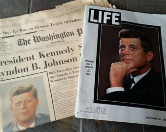John F Kennedy Assassination Washington Post and Life Magazine
